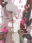 1girl dangan_ronpa hair_in_mouth hair_ornament hairclip hoodie jacket long_hair nanami_chiaki pink_eyes pink_hair ribbon samidare skirt solo super_dangan_ronpa_2 tears wink