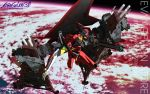 3d earth eva_02 eva_02'β evangelion:_3.0_you_can_(not)_redo logo mecha neon_genesis_evangelion no_humans official_art rebuild_of_evangelion red science_fiction space_craft studio_khara title_drop wallpaper weapon