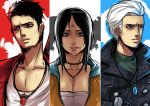 1girl 2boys bangs black_hair blue_eyes bruise bust column_lineup dante dmc:_devil_may_cry highres injury jewelry kat_(devil_may_cry) kuma_x multiple_boys necklace parted_bangs slicked_back_hair vergil white_hair