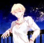 1boy black_hair blonde_hair fate/zero fate_(series) gilgamesh jewelry necklace railing red_eyes solo wingtemple
