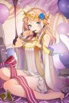 angel_wings armlet balloon bangs bare_shoulders barefoot blonde_hair blue_eyes blue_rose blush bow breasts chocolate cleavage cocorip crown_of_thorns cupcake detached_sleeves dress earrings flower grin jewelry licking long_hair lowres open_mouth ribbon rose rose_pacifica sitting smile striped swept_bangs sword_girls wariza wings