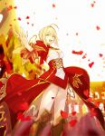 1girl absurdres ahoge aokiku bangs blonde_hair braid breasts dress eyebrows_visible_through_hair fate/extra fate/grand_order fate_(series) hair_between_eyes hand_up highres holding holding_sword holding_weapon looking_at_viewer nero_claudius_(fate) nero_claudius_(fate)_(all) open_mouth petals red_dress short_hair smile solo sword underwear weapon wind yellow_eyes