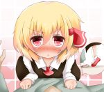 1girl ascot blonde_hair blush commentary_request hair_ribbon koji_(kohei66) long_sleeves open_mouth pink_eyes pov red_eyes ribbon rumia shirt skirt skirt_set sweat tiptoes touhou vest