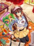 1girl bag black_legwear blue_eyes blush book breasts brown_hair cherubi cushion digital_media_player double_bun flower glass grass great_ball hat headphones hongmao long_hair ludicolo mei_(pokemon) open_mouth pantyhose poke_ball pokemon pokemon_(creature) pokemon_(game) pokemon_bw2 raglan_sleeves shorts sitting smile snivy sunflower table television tongue twintails ultra_ball visor_cap wariza