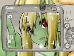 1girl blonde_hair blush brand_name_imitation camera canon_(company) dragon_girl green_skin long_hair masakichi_(heppouku) monster_girl original pov red_eyes ryuujin_no_senpai scales screen slit_pupils viewfinder waving