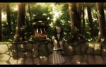 1girl amemura_(caramelo) arms_behind_back black_hair fox_mask long_hair looking_at_viewer mask original school_uniform serafuku shide shrine skirt solo tree
