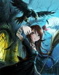 1girl bare_tree bird broom brown_eyes brown_hair choker crow dress feathers glowing glowing_eyes hair_ribbon jewelry lace_trim moon necklace night night_sky original parted_lips ribbon skull sky solo tree ume_(illegal_bible)