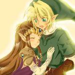 blonde_hair brown_hair elbow_gloves gloves hat hug link long_hair lowres nintendo pointy_ears princess_zelda smile the_legend_of_zelda tiara twilight_princess