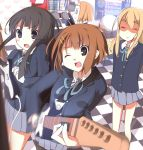 akiyama_mio arcade arcade_cabinet bad_id bemani black_hair blonde_hair blue_eyes brown_eyes brown_hair cameo closed_eyes drummania drumsticks guitar guitarfreaks hairband hirasawa_yui ikusan instrument k-on! kotobuki_tsumugi long_hair motion_blur multiple_girls nakano_azusa nakano_azusa_(cameo) o_o pantyhose playing_games ribbon school_uniform short_hair skirt taiko_no_tatsujin tainaka_ritsu video_game wink