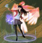 action amagi_yukiko error fan glasses highres legs long_hair magic motion_blur pantyhose persona persona_4 realistic skirt solo