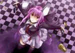 blazer blush bullet bunny_ears checkered checkered_floor dual_wielding foreshortening from_above gun long_hair necktie purple_hair rabbit_ears red_eyes reisen_udongein_inaba shell_casing sinzire skirt thigh-highs thighhighs touhou weapon zettai_ryouiki