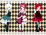 bad_id bahn_auto bare_shoulders boots bracelet child crossdress crossdressing dress elbow_gloves fishnets flower garter_straps garters gazelle gloves gothic_lolita guran inazuma_eleven jewelry kiyama_hiroto lolita_fashion multiple_boys nagumo_haruya red_eyes red_hair redhead rose suzuno_fuusuke tanimo2333 thigh-highs thighhighs trap white_hair white_skin