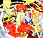 a_s ast barefoot bridge coin flower highres looking_at_viewer navel onozuka_komachi open_clothes red_eyes red_hair redhead scythe short_hair skull smile solo spider_lily touhou twintails wink