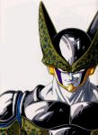 1boy armor cell_(dragon_ball) cell_(dragonball) dragon_ball dragon_ball_z evil_grin evil_smile evil_smirk grin helmet highres male muscle red_eyes smile solo traditional_media white_skin
