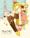 1girl arm_warmers beret blonde_hair braid breasts cake character_name corset cup cupcake curtains drill_hair fingerless_gloves flower food gloves hair_ornament hat magical_girl mahou_shoujo_madoka_magica shoes sitting skirt smile solo teacup thigh-highs tomoe_mami twin_braids twin_drills vertical-striped_legwear vertical_stripes yellow_eyes