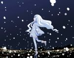 abe_kanari cityscape cloak long_hair night night_sky original sky snow snowing thigh-highs tiptoes very_long_hair white_hair zettai_ryouiki