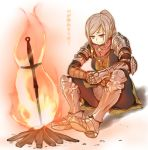 1girl armor blonde_hair bonfire character_request dark_souls fire full_armor gauntlets minazuki_randoseru ponytail sitting solo sword weapon