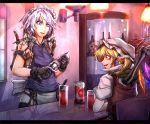 2girls apron black_legwear blue_eyes bottle braid can earrings flandre_scarlet glass hat izayoi_sakuya jewelry knife maid maid_headdress multiple_girls open_mouth pointy_ears puffy_sleeves red_eyes ryuuichi_(f_dragon) short_hair side_ponytail silver_hair sitting skull sleeveless smile tattoo thigh-highs touhou twin_braids waist_apron wings