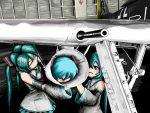 airplane detached_sleeves fw_190 hatsune_miku military rocket_launcher rxjx twintails vocaloid weapon world_war_ii
