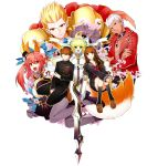 3boys 3girls aestus_estus animal_ears archer armor blonde_hair brown_hair caster_(fate/extra) fate/extra_ccc fate_(series) female_protagonist_(fate/extra) fox_ears fox_tail gilgamesh gumidemo_kandero male_protagonist_(fate/extra) multiple_boys multiple_girls pink_hair saber_bride tail thigh-highs white_hair