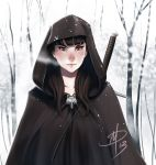 1girl a_song_of_ice_and_fire brooch brown_eyes brown_hair cape daniel_macgregor forest hood jewelry lips long_hair nature nose over_shoulder signature snow solo sword sword_over_shoulder weapon weapon_over_shoulder winter