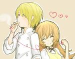 1boy 1girl apron blonde_hair cigarette closed_eyes couple keikou_midori_(753064) long_hair red_string satou_jun short_hair smile smoking string todoroki_yachiyo working!! yellow_eyes