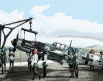 airplane akiyama_yukari bf_109 crane detached_sleeves engine girls_und_panzer hatsune_miku isuzu_hana military nishizumi_miho reizei_mako rxjx school_uniform serafuku takebe_saori vocaloid world_war_ii