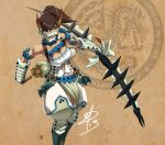 1girl armlet armor arrow barioth_(armor) belt blue_eyes bow_(weapon) breasts brown_hair cleavage corset daniel_macgregor dark_skin huge_weapon knee_pads large_breasts loincloth long_hair mask monster_hunter monster_hunter_3 monster_hunter_portable_3rd pauldrons ponytail puffy_pants quiver signature solo spikes vambraces weapon