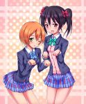 black_hair bow hair_bow hoshizora_rin love_live!_school_idol_project open_mouth red_eyes ribbon school_uniform short_hair skirt smile twintails yazawa_nico