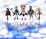 5girls akemi_homura alternate_costume alternate_hairstyle black_hair black_legwear blonde_hair blue_eyes blue_hair bow cape character_name choker clouds collarbone cosplay crossover drill_hair earrings english golf_club gun hair_ribbon hands_on_hips jewelry kakkii kaname_madoka long_hair magical_musket mahou_shoujo_madoka_magica miki_sayaka multiple_girls open_mouth parody pink_eyes pink_hair polearm ponytail precure red_eyes redhead reflection ribbon sakura_kyouko short_hair short_twintails skirt sky smile_precure! soul_gem spear sword thigh-highs tiara tomoe_mami twin_drills twintails vertical-striped_legwear vertical_stripes very_long_hair violet_eyes weapon white_legwear yellow_eyes zettai_ryouiki