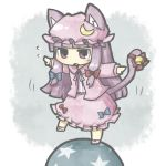 1girl animal_ears ball bell bow cat_ears cat_tail chibi crescent dress hair_bow hair_ribbon hat long_hair open_mouth outstretched_arms patchouli_knowledge purple_hair ribbon solo sweat tail touhou violet_eyes yuasan