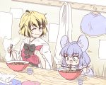 2girls animal_ears black_hair blonde_hair bowl chopsticks coat cup eating egg food grey_eyes happy mouse_ears multicolored_hair multiple_girls nazrin noodles ramen silver_hair spoon steam sunatoshi sweatdrop toramaru_shou touhou two-tone_hair