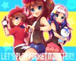 3girls :o bare_shoulders bike_shorts blue_eyes blue_hair brown_hair english gloves hair_ornament hairclip haruka_(pokemon) hat hikari_(pokemon) looking_back multiple_girls open_mouth piplup poke_ball pokemon pokemon_(game) ponytail scarf short_shorts shorts skirt title_drop touko_(pokemon) urara_(sumairuclover) wristband