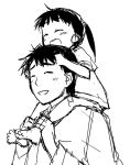 ^_^ barefoot black_hair carrying closed_eyes father_and_daughter hijikata_keisuke if_they_mated long_hair monochrome mozu_(peth) ponytail rough short_hair shoulder_carry smile strike_witches