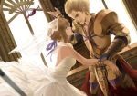 1boy 1girl ahoge armor blonde_hair blue_eyes bridal_veil bride cup dress earrings fate/zero fate_(series) gilgamesh jewelry liuruoyu8888 red_eyes saber spill veil wedding_dress wine wine_glass