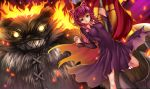 1girl animal_ears annie_hastur backpack bag bear breasts dress fake_animal_ears fire green_eyes league_of_legends pink_hair short_hair smile teeth tibbers un4lord