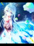 ahoge barefoot blue_eyes blue_hair bow breasts clouds denpa_onna_to_seishun_otoko earth lightning_bolt long_hair off_shoulder school_uniform skirt star_(sky) tibimimi touwa_erio ufo unbuttoned very_long_hair