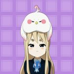 1girl animal_on_head bird bird_on_head blonde_hair blue_eyes company_connection crossover dera_mochi'mazzui honjou k-on! kotobuki_tsumugi kyoto_animation long_hair school_uniform tamako_market