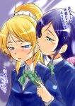 2girls ayase_eli biting black_hair blue_eyes blush ear_biting love_live!_school_idol_project multiple_girls school_uniform toujou_nozomi translation_request urutsu_sahari yuri