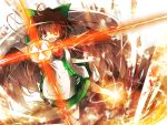 1girl arm_cannon bow brown_hair cape glowing glowing_eye hair_bow highres itsutsuki long_hair open_mouth red_eyes reiuji_utsuho skirt solo tears touhou weapon wings