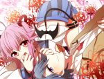 1boy 1girl angel_beats! bat_wings blue_hair couple hinata_(angel_beats!) hitsuko long_hair pink_hair red_eyes school_uniform short_hair tail twintails violet_eyes wings yui_(angel_beats!)