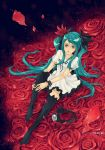 1girl aqua_hair bad_id black_legwear bracelet flower frilled_legwear frills hatsune_miku headphones jewelry legs long_hair looking_up petals red rose sairin solo thigh-highs twintails very_long_hair vocaloid world_is_mine_(vocaloid)