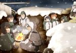 akiyama_yukari black_hair brown_hair campfire girls_und_panzer gun hairband hariyaa isuzu_hana long_hair military military_vehicle multiple_girls nishizumi_miho orange_hair reizei_mako rifle short_hair snow soldier takebe_saori tank vehicle weapon world_war_ii