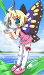 1girl ahoge antennae blonde_hair blue_eyes blush bow butterfly_wings chibi cupping_hands dew_drop dress fairy frills leaf leaning_forward light_particles looking_at_viewer mary_janes ocean osaragi_mitama shimon shimotsuma shoes short_hair sky solo thigh-highs water_drop white_legwear wings
