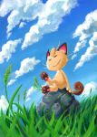 bad_id closed_eyes clouds grass meowth no_humans pokemon rock sanshoku_iruka sitting solo wind