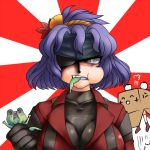 breasts cleavage eyepatch frog hair_ornament headband large_breasts purple_hair pyonta slit_pupils solid_snake_(cosplay) touhou yasaka_kanako yellow_eyes