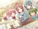5girls blonde_hair blue_eyes blue_hair bow bubble cake chitose_yuma closed_eyes decorations drill_hair food green_hair hair_bobbles hair_bow hair_ornament hairband hairclip hands_on_shoulders hoodie juliet_sleeves kaname_madoka long_hair long_sleeves mahou_shoujo_madoka_magica mahou_shoujo_oriko_magica miki_sayaka multiple_girls open_mouth pink_hair puffy_sleeves red_eyes redhead sakura_kyouko school_uniform short_hair smile tahya tomoe_mami twin_drills twintails very_long_hair