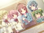 5girls blonde_hair blue_eyes blue_hair bow cake chitose_yuma closed_eyes decorations drill_hair food green_hair hair_bobbles hair_bow hair_ornament hairband hairclip hands_on_shoulders hoodie juliet_sleeves kaname_madoka long_hair long_sleeves mahou_shoujo_madoka_magica mahou_shoujo_oriko_magica miki_sayaka multiple_girls open_mouth pink_hair puffy_sleeves red_eyes redhead sakura_kyouko school_uniform short_hair smile tahya tomoe_mami twin_drills twintails very_long_hair