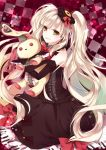 1girl an-mar blonde_hair bow doll dress elbow_gloves gloves looking_at_viewer mayu_(vocaloid) piano_print smile stuffed_toy twintails vocaloid yellow_eyes
