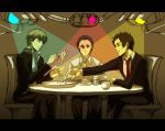 3boys :t adachi_tooru brown_eyes brown_hair chair cup dress_shirt eating food fork grey_eyes grey_hair multiple_boys namatame_tarou narukami_yuu necktie noodles oyuya pasta persona persona_4 school_uniform shirt shrimp sitting spotlight traffic_light